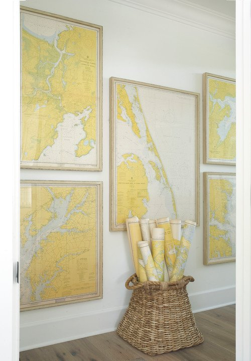 Yellow Maps Enhance Hallway Color Scheme