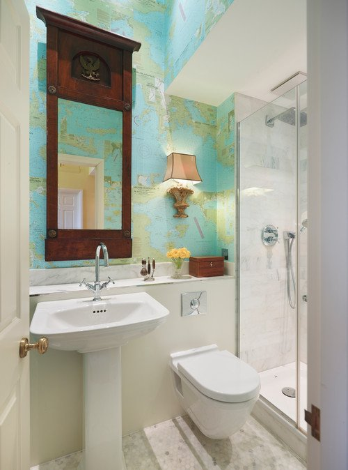 Contemporary Bathroom with Map Wallpaper