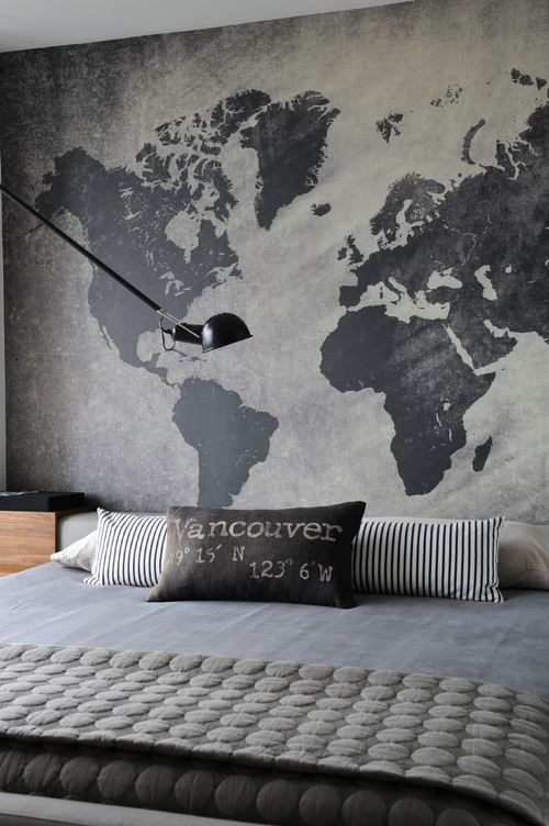 Gray and Cream Map Mural in Bedroom
