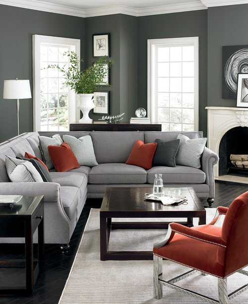 Gray Living Room with Neutral Sectional Sofa