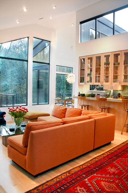 Burnt Orange Sectional Sofa in Contemporary Living Room
