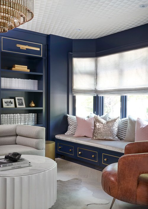 Contemporary Blue Living Room with Built-in Window Seat and Bookcase