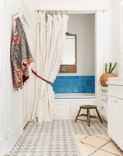 Southwestern Style Bathroom with Blue Tile