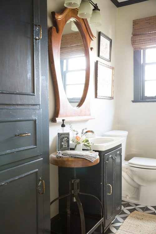 Painted Vanity and Cabinet in Farmhouse Bathroom