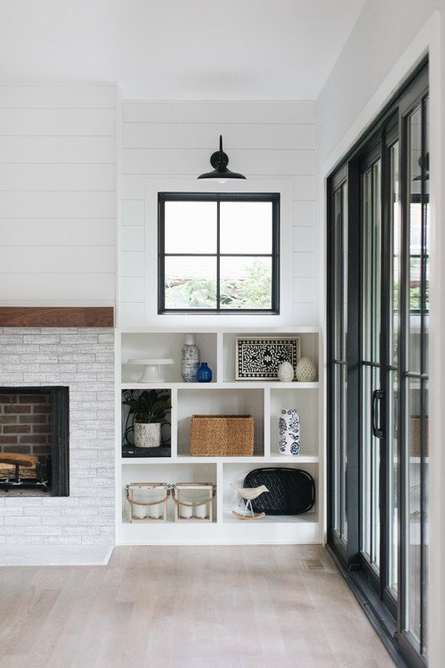 Farmhouse Built-in Cabinet by Fireplace