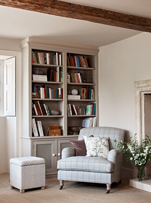 Farmhouse Living Room with Built-in Bookcase