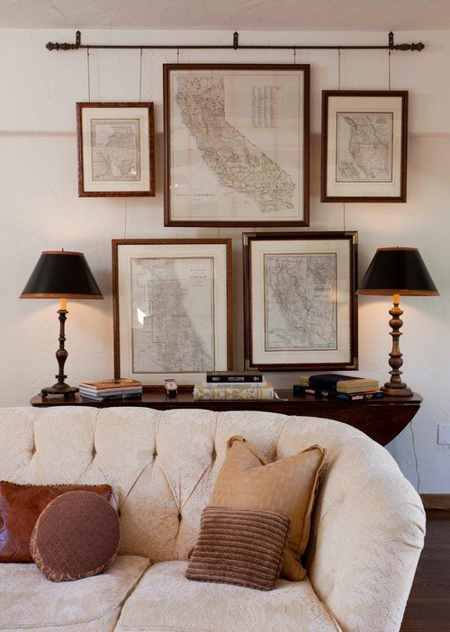 Framed Maps Used as Wall Gallery Art