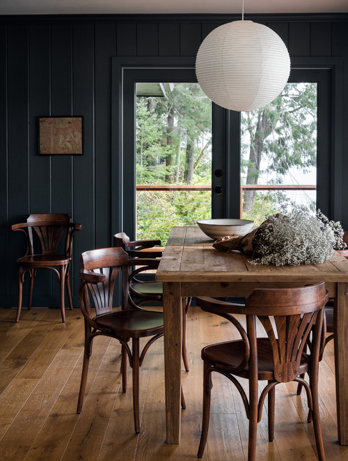Snug Cabin Home Dining Room with Dark Gray Walls