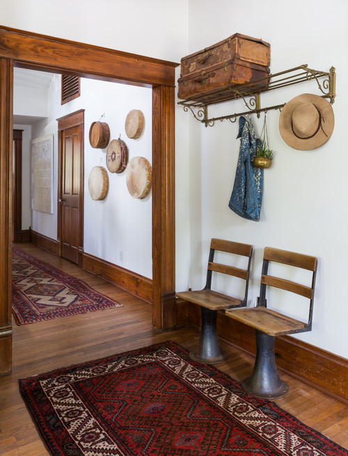 Eclectic Style Hallway with School Desk Chairs
