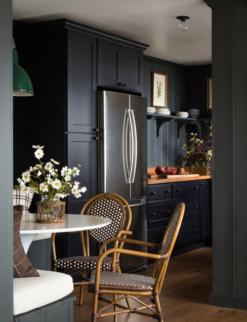 Dark Gray Cabin Kitchen