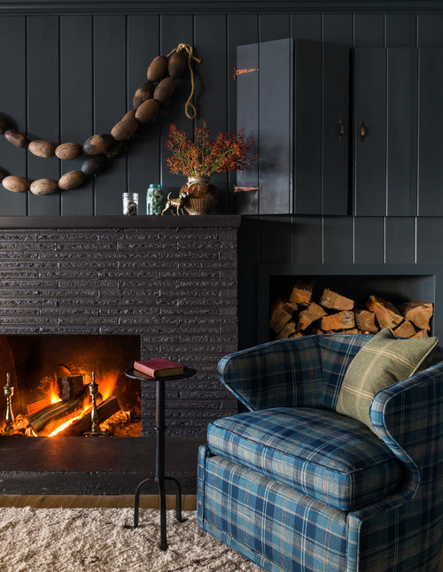 Fireplace in Snug Cabin Home