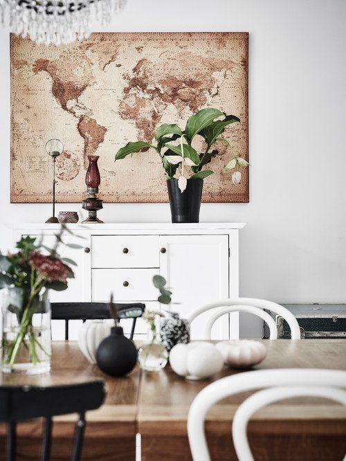 Brown and White Map in Scandinavian Dining Room