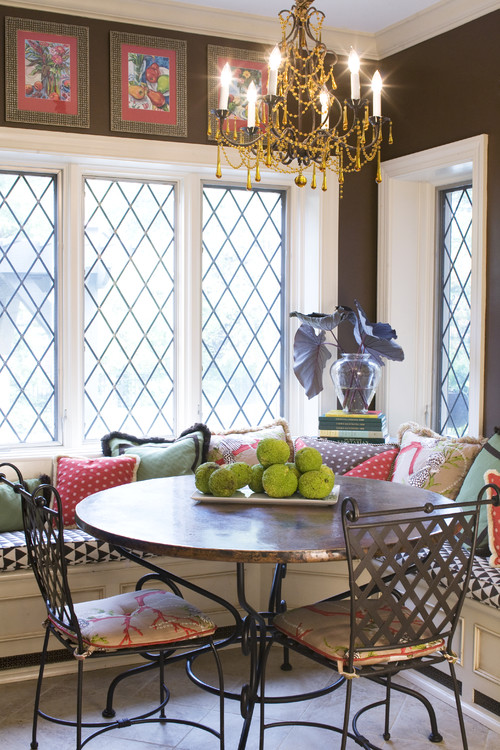 Eclectic Style Colorful Dining Space with Banquette