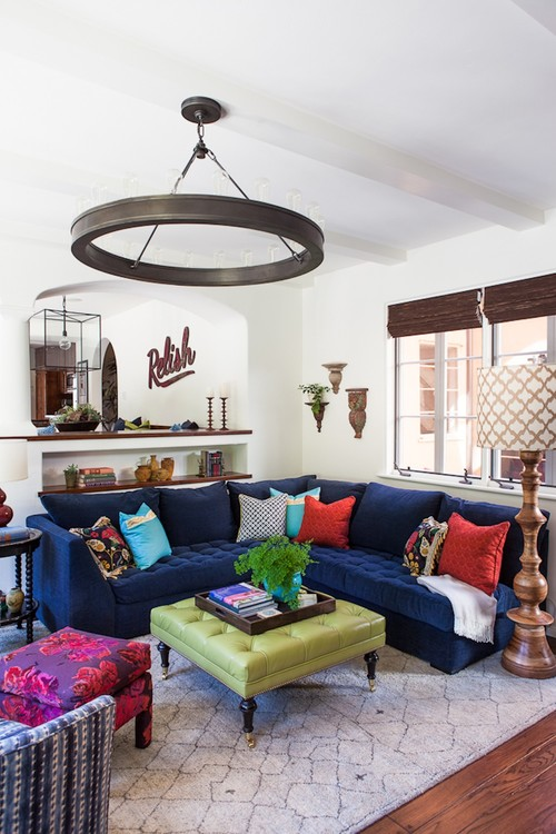 Colorful Family Room with Blue Velvet Sectional