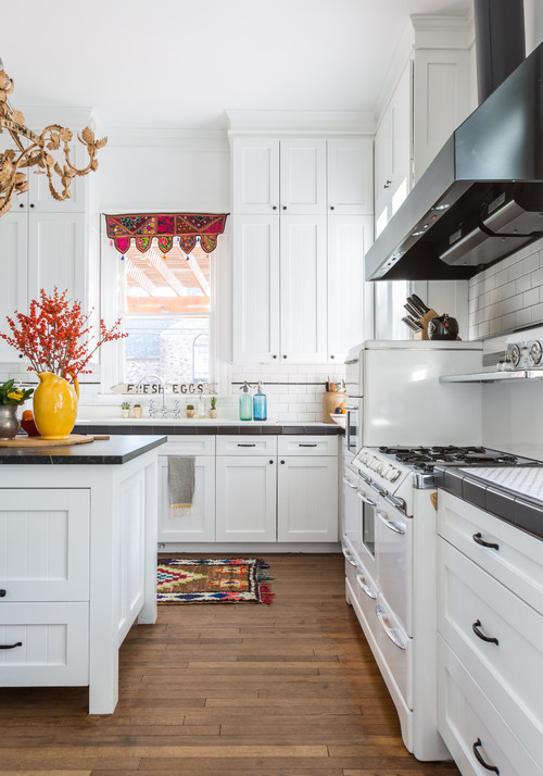 Traditional White Kitchen with Eclectic Vibe