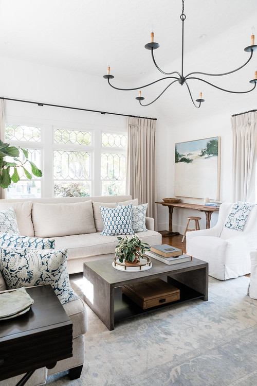 White and Cream Living Room with Touches of Blue