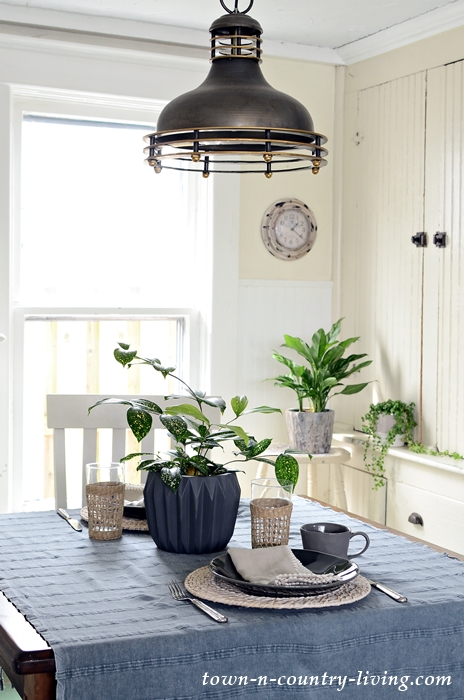 Spring Table Setting in Neutral Tones with Houseplants