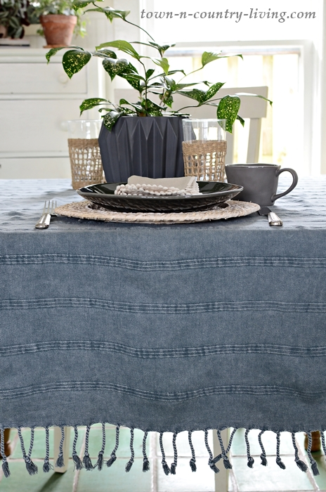 Faded Blue Table Throw