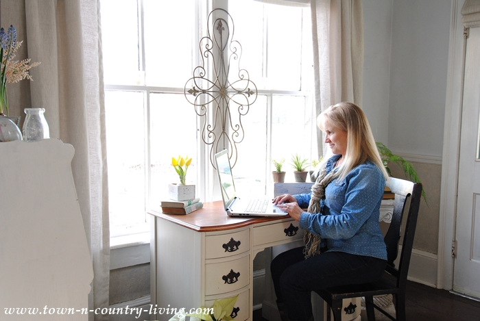 Blogging at a Farmhouse Desk
