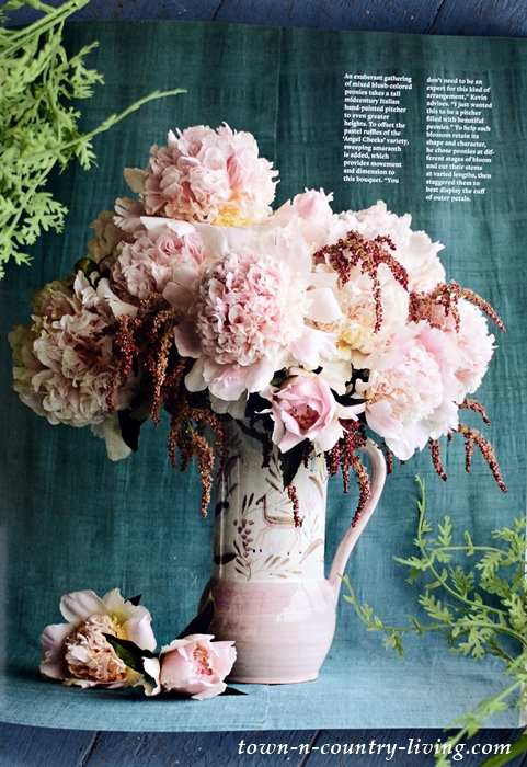 Gorgeous Bouquet of Pink Flowers in Vintage Pitcher