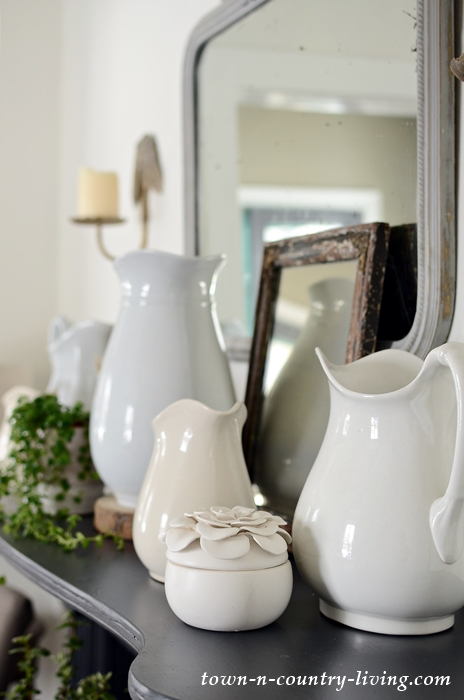 White Ironstone Pitchers on a Vintage Painted Mantel