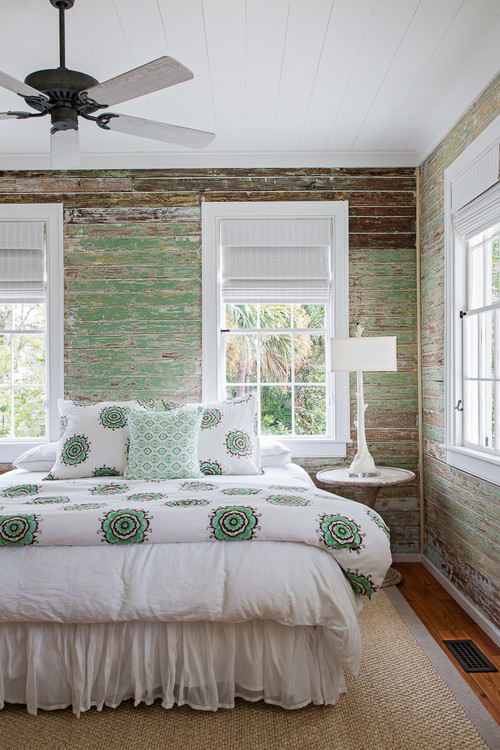 Rustic Island Beach Cottage Bedroom with Shiplap Walls