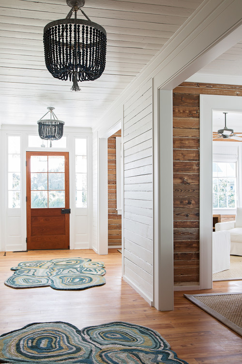 Wood Beaded Chandeliers in Island Beach Cottage