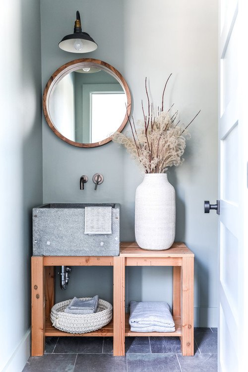 Beach Style Bathroom with Cement Sink