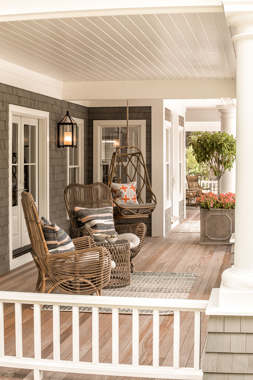 Large Porch with Wicker Furniture in Portland, ME