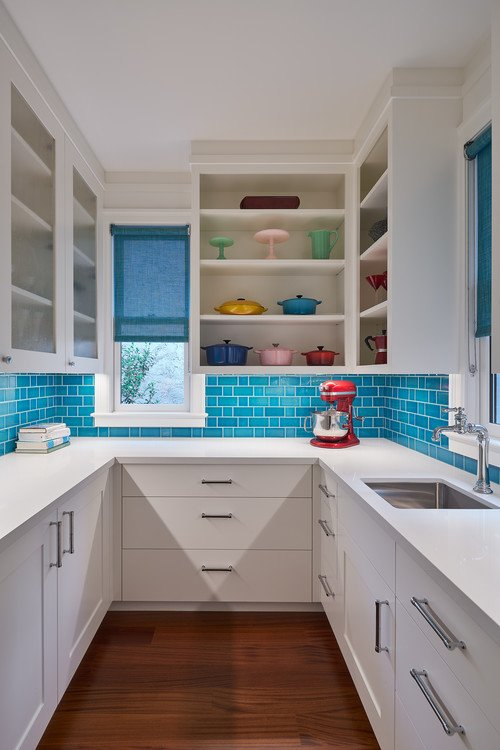 Contemporary White Kitchen with Turquoise Color Back Splash