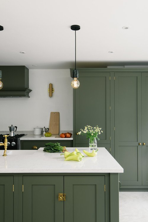 exciting green kitchens white cabinets | The Best in Dark Green Kitchen Trends - Town & Country Living