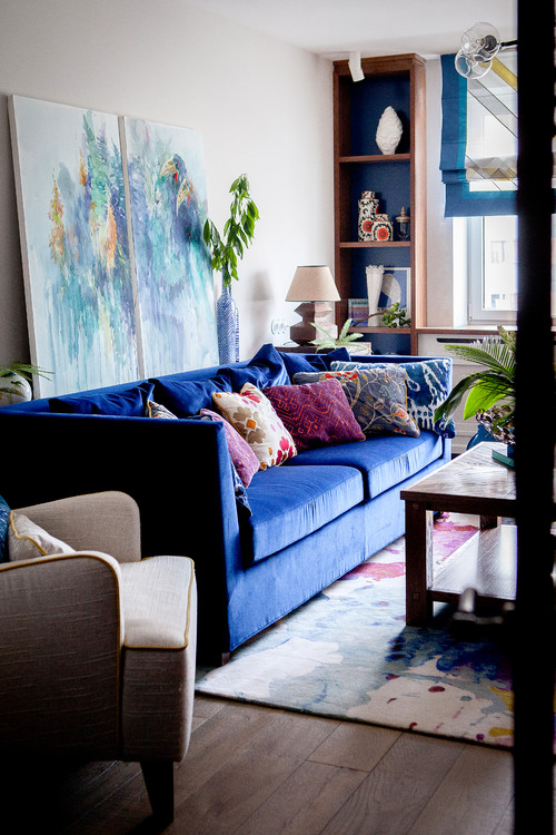 Deep Blue Couch in Eclectic Living Room