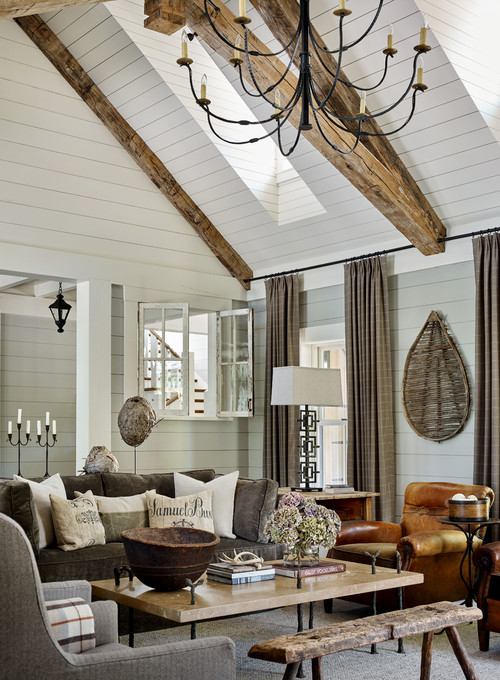 Rustic Neutral Living Room in Lake Home