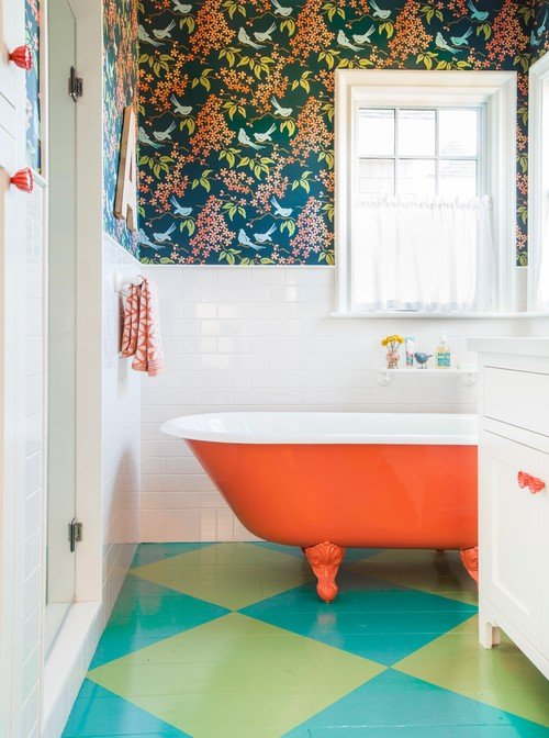 Fun Bathroom with Bold Color and Claw Foot Tub