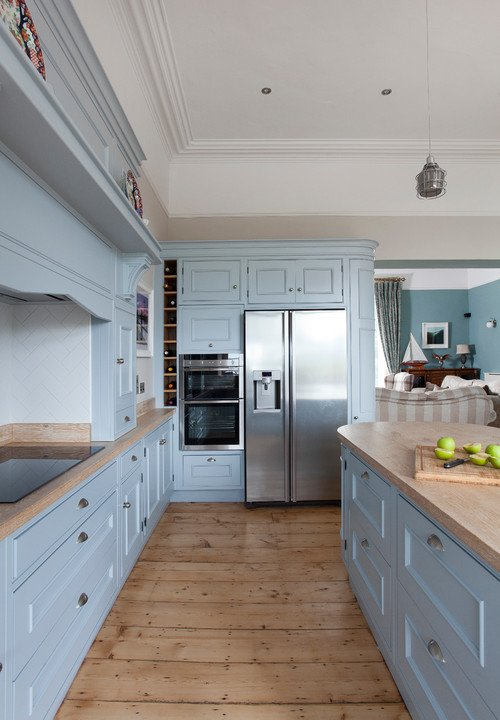 Custom Kitchen with Natural Wood Floor and Light Blue Cabinets