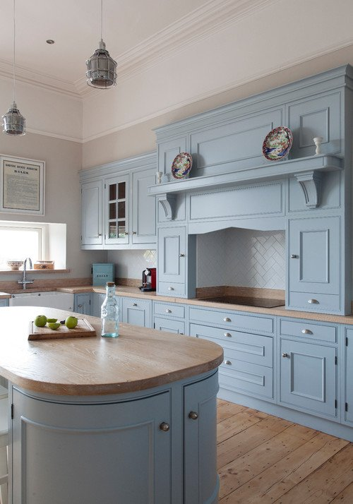 Custom Kitchen Cabinets in Light Blue