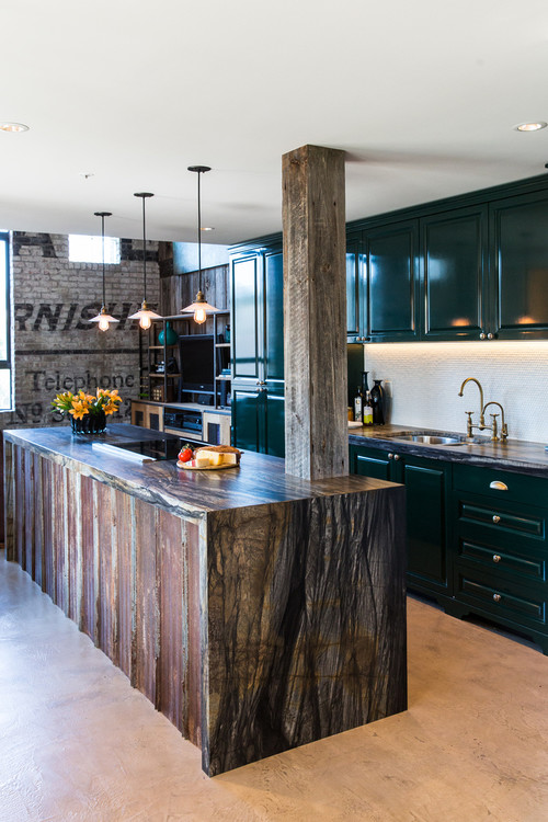 Rustic Kitchen with Dark Green Cabinets
