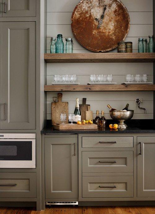 Neutral Rustic Kitchen in South Carolina Lake Home