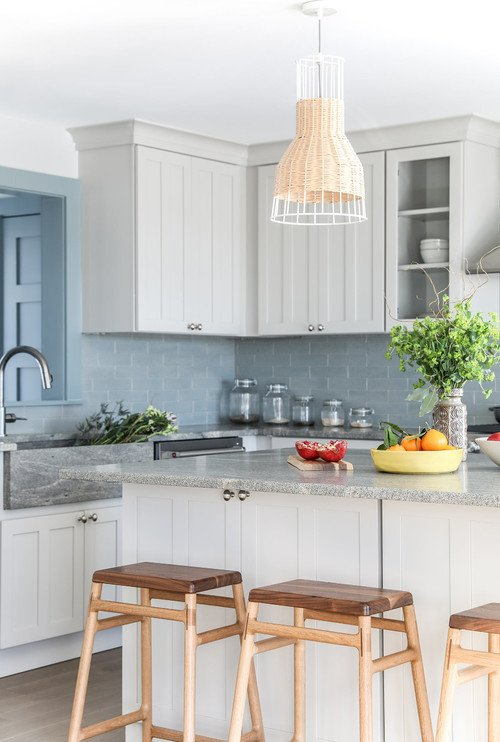 Coastal Kitchen in Grays and Blues with Shaker Style Cabinets