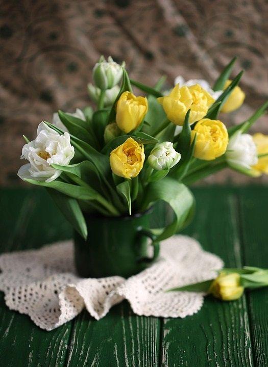 Yellow and White Tulip Arrangement