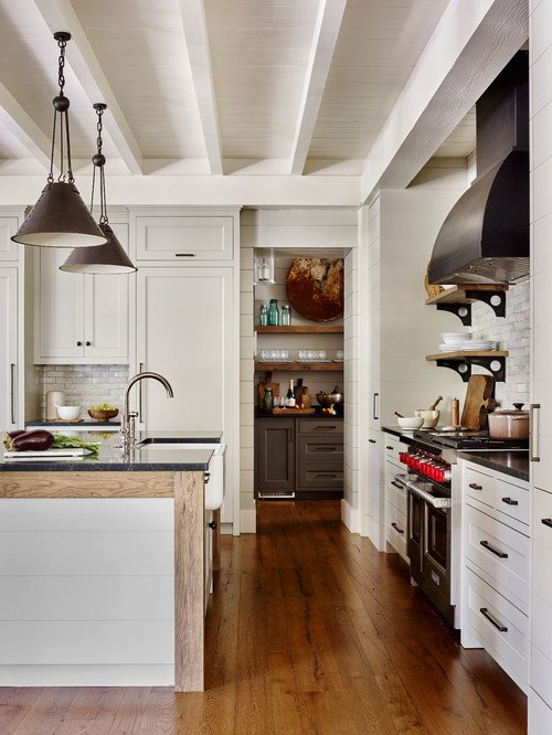 Neutral Rustic Kitchen in South Carolina Lake Home