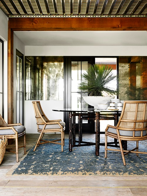 Rattan Cane Dining Set in Tropical Home