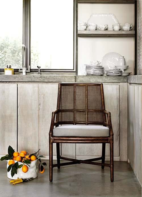 Rattan Cane Armchair in Neutral Kitchen