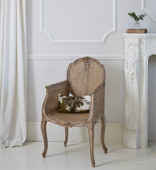 French Country Style Rattan Chair in Shabby Chic Living Room