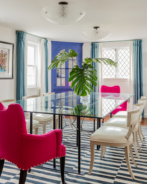 Bold Color in the Dining Room with Glass Table