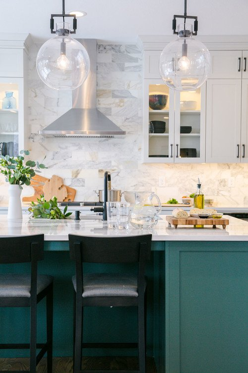 Traditional Kitchen with Dark Green Kitchen Island