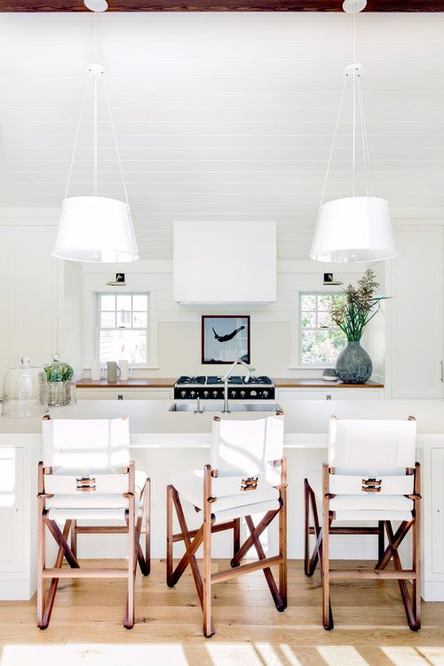 White Coastal Kitchen with Yacht Inspired Bar Stools