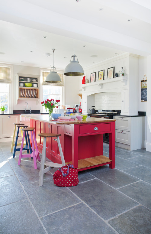 Bold Color in the Kitchen with Deep Pink Island