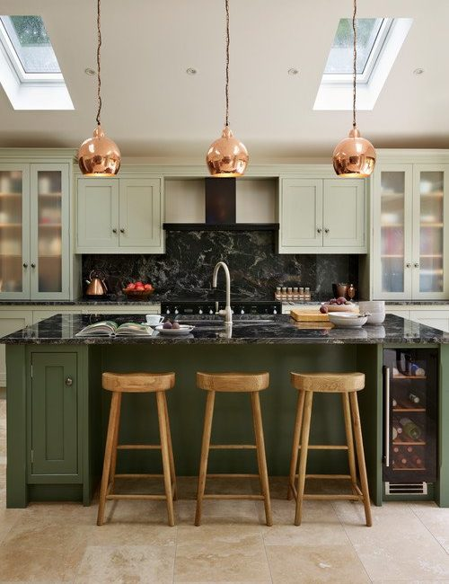 Modern Country Dark Green Kitchen