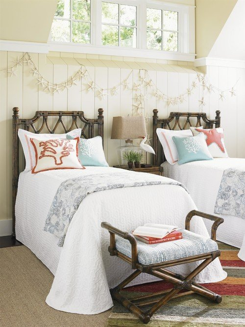 Twin Rattan Cane Beds in Beach Style Bedroom